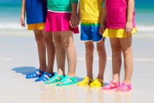 Kids on Costa Rica beach summer vacation